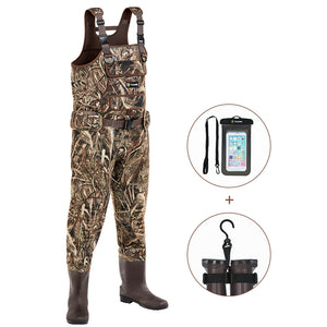 TIDEWE Chest Waders with Boots Hanger for Men, Realtree MAX5 Camo Neoprene Hunting Fishing Bootfoot Waders