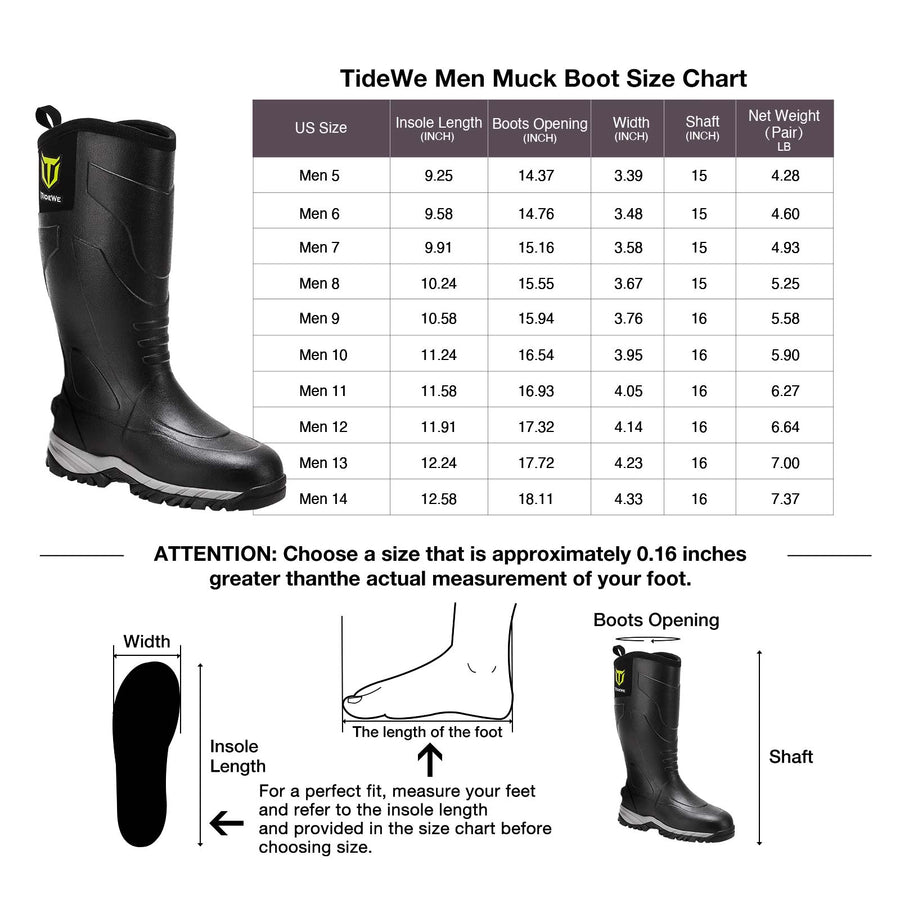 TIDEWE Rubber Muck Hunting Boots, Waterproof Durable Neoprene Outdoor Boots, Warm Insulated Work Boots for Men