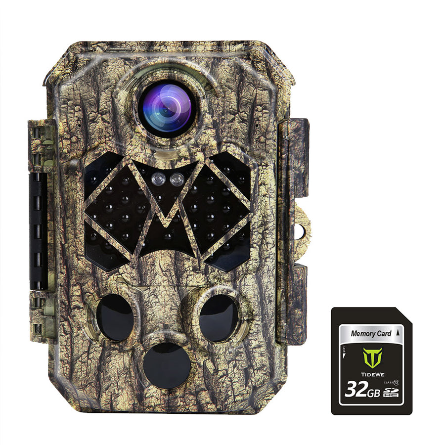 TideWe Trail Camera with 32GB SD Card, Waterproof 32MP 4K Game Camera Wildlife Scouting Hunting Camera with 0.2s Trigger 3 PIR, 120° Wide Angle and Night Vision