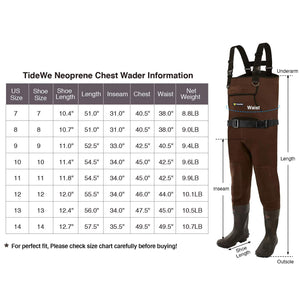 TideWe Neoprene Chest Waders for Men Waterproof Durable Fishing Waders