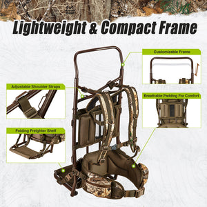 TideWe Hunting Backpack External Frame, 5500cu Hunting Pack with Rain Cover
