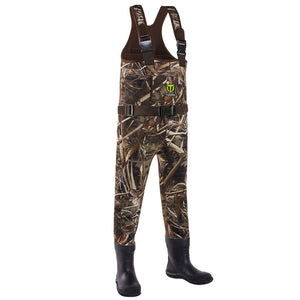 TideWe Hunting Chest Waders for Toddler Children Youth Neoprene Realtree MAX5 Camo Waders