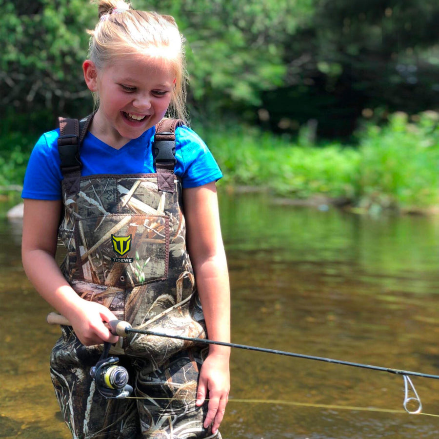 TideWe Hunting Chest Waders for Toddler Kids Youth Neoprene Realtree MAX5 Camo Waders