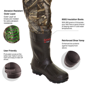 TideWe Hunting Chest Wader Realtree MAX5 Camo Waterfowl Duck Wader (600G & 800G Insulation)