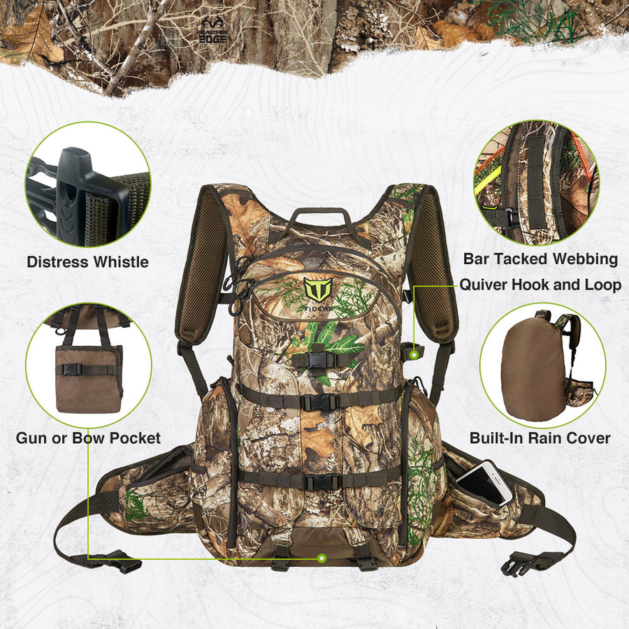 TideWe Hunting Backpack Waterproof Camo Hunting Pack with Rain Cover for Bow/Rifle/Pistol (Ship on Jan.29)