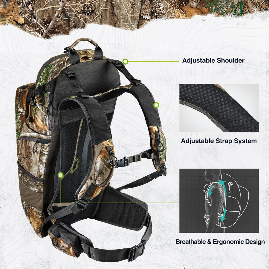 TideWe Hunting Pack 3400cu, Silent Frame Hunting Backpack for Bow/Rifle/Pistol (Ship on Oct.2)