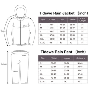 TideWe Rain Suit, Waterproof Breathable Lightweight Rainwear Size S M L XL XXL 3XL
