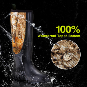 TideWe Rubber Boots for Men, Muck Rain Boots with Steel Shank Neoprene Hunting Boots Camo Black Brown Color