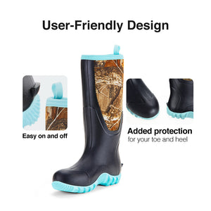 TideWe Rubber Boots for Women Muck Rain Boots with Steel Shank, Neoprene Outdoor Realtree Hunting Boots