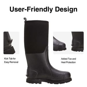 TIDEWE Rubber Work Boots for Men with Steel Shank, Waterproof Muck Hunting Boots, Warm 6mm Neoprene Hunting Mud Boot Size 5-14