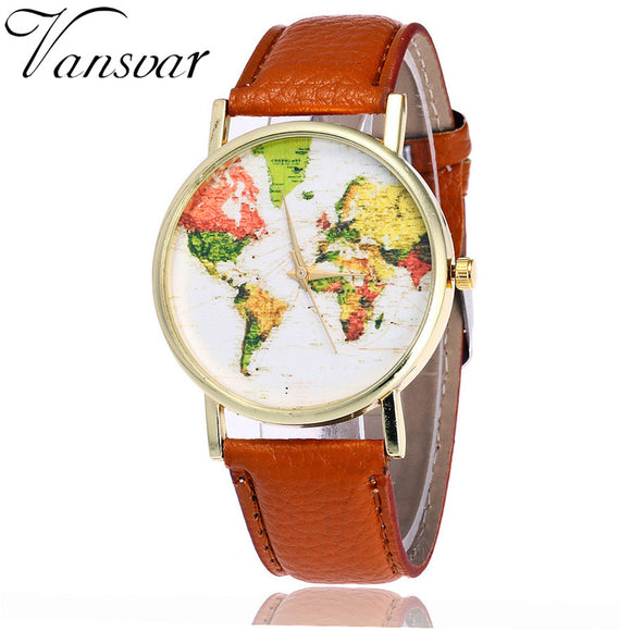 World Map Watch Casual for Men Women