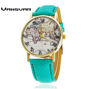 Vansvar  Fashion Women Leather World Map Watches Mapa Relojes Mujer Ladies Quartz Wristwatch Relogio Feminino Gift 1548