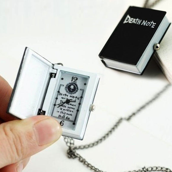 Women Mens Pendant Necklace Unique Death Note Necklace Chain Pocket Watch