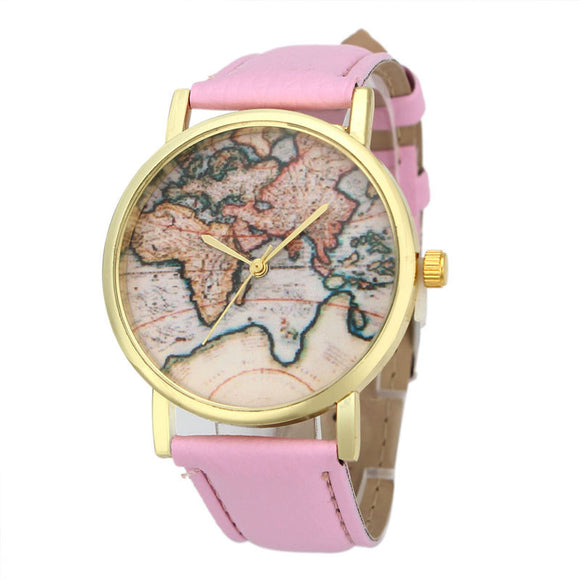 Vintage Earth World Map Watch Alloy Women Analog Quartz Wrist Watches