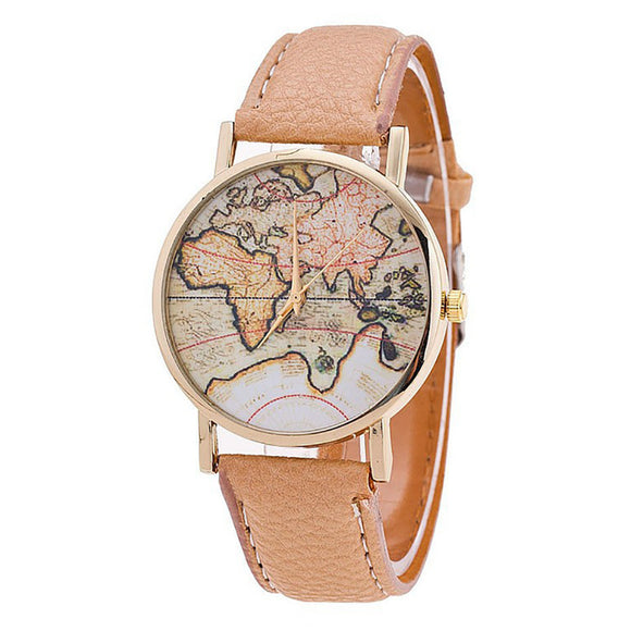 World Map Leather Strap Analog Quartz Wrist Watch