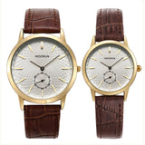 New Fashion Simple Couple Watch WOONUN Top Brand Luxury Men Women Watches Leather Strap Quartz Couple Watches For Lovers