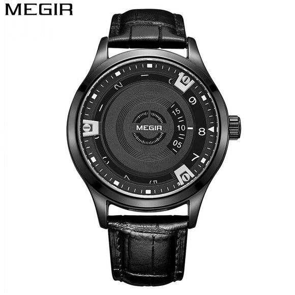 MEGIR Men's Fashion Watch Leather Waterproof Military Sport Watch
