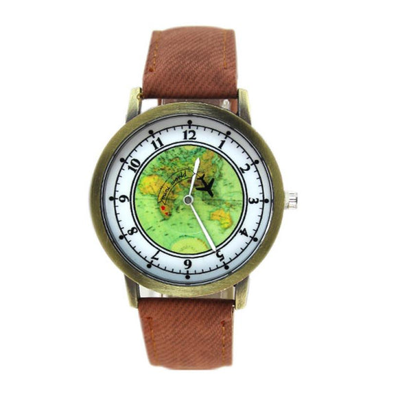 Travel Style Pattern Denim Band Fashion Quartz Watches Women Cute Analog Wrist Quartz Watch
