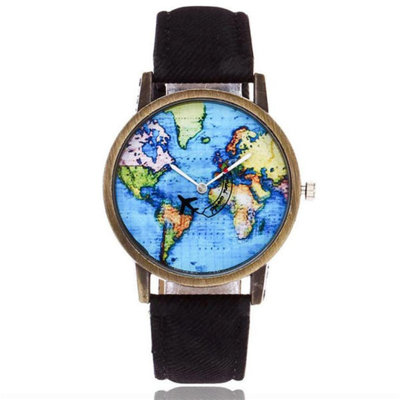 Global Travel By Plane Map Watches - Unisex