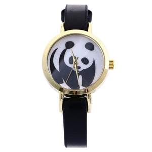 Attractive Panda Faux Leather Watch for Women