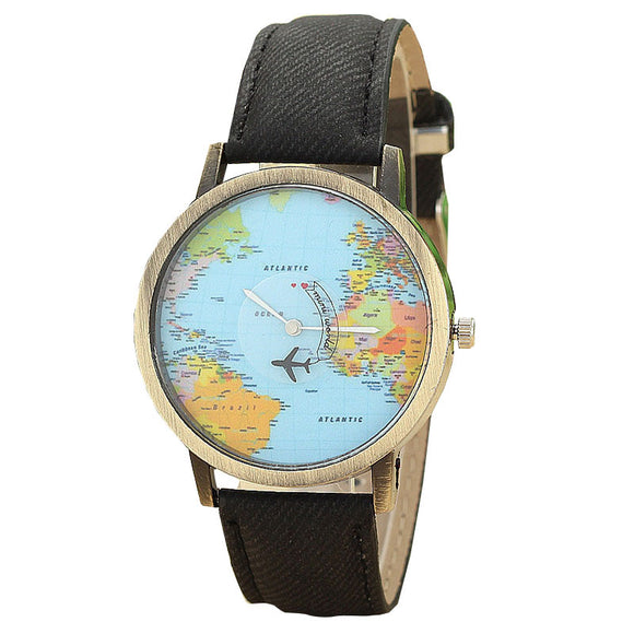 Fashion Global Travel Plane Map Watches Women Retro Denim Leather Watches Ladies Casual Analog Quartz Wrist Watch Relogio #Ju