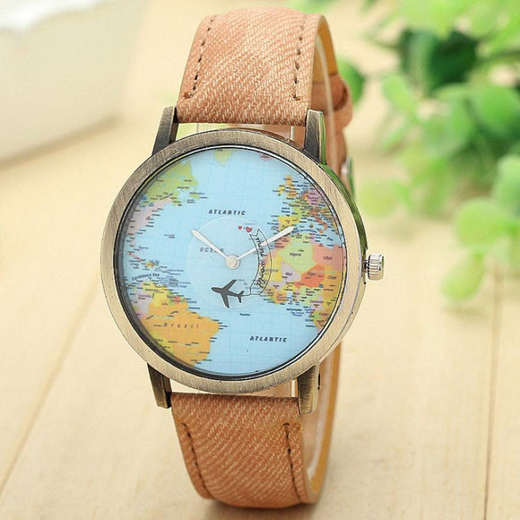 Global Travel Plane Map Denim Watch - Unisex