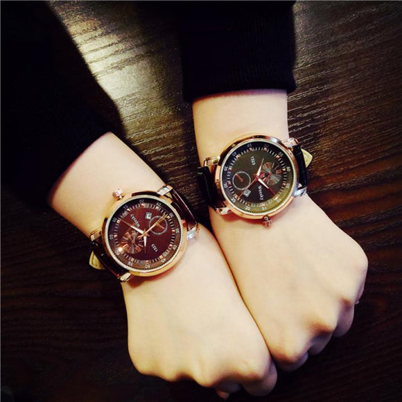 Minimalist Vintage Watches Mens Women Faux Leather Band Analog Quartz Watch Ladies Lover's Couple Wrist Watch Students Clock #JO