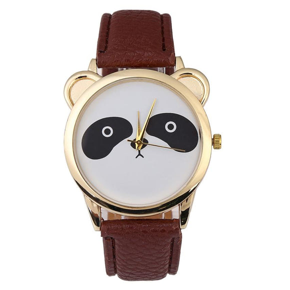 Panda Face Faux Leather Quartz Dial Wristwatches
