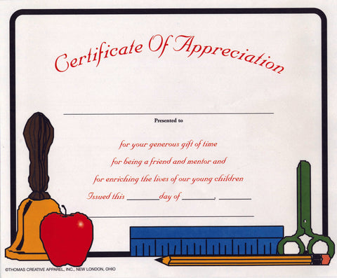 3300CA Certificate Of Appreciation - Thomas Creative Apparel