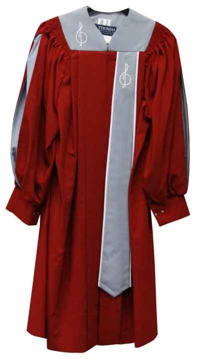 8860 Fluted Choir Robe - Rich Maroon