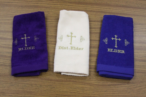 Hand Towel Elder w/ Cross design, Dist. Elder w/ Cross design - Thomas Creative Apparel