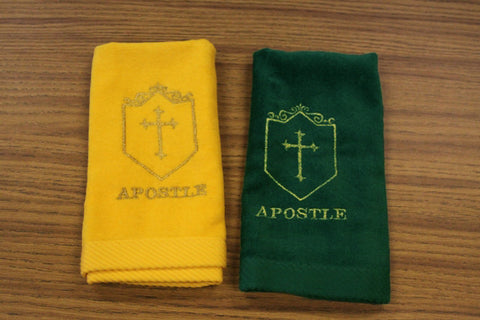 Hand Towel Apostle and Cross w/ Shield - Thomas Creative Apparel