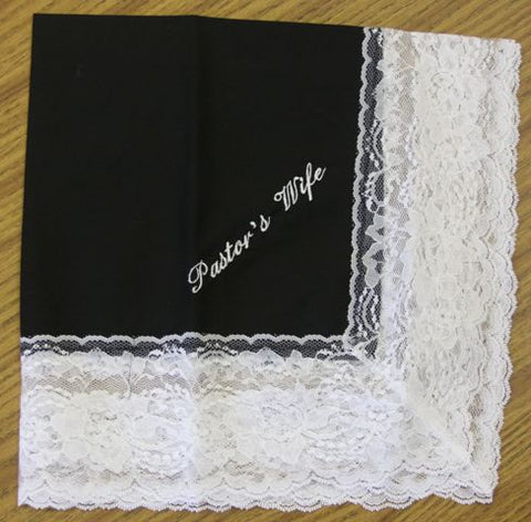 Ladies Hanky Black  with Embroidery and Fringe - Thomas Creative Apparel