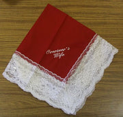 Ladies Hanky Red with embroidery and fringe - Thomas Creative Apparel