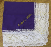 Ladies Hanky Purple with embroidery and fringe - Thomas Creative Apparel