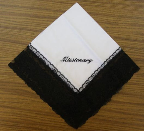 Ladies Hanky White w/ Black embroidery and fringe - Thomas Creative Apparel