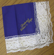 Ladies Hanky Royal Blue with embroidery and fringe - Thomas Creative Apparel
