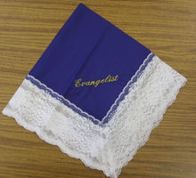 Load image into Gallery viewer, Ladies Hanky Royal Blue with embroidery and fringe