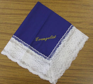 Ladies Hanky Royal Blue with embroidery and fringe