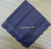 Ladies Hanky Navy with embroidery and fringe - Thomas Creative Apparel