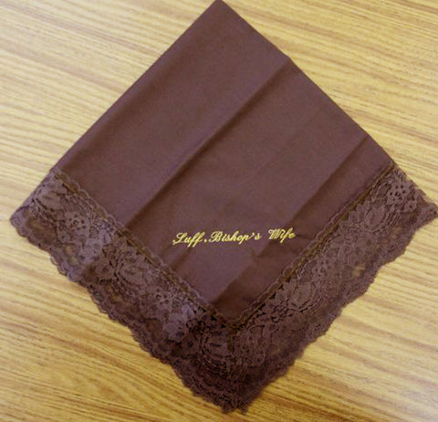 Ladies Hanky Brown with embroidery and fringe - Thomas Creative Apparel