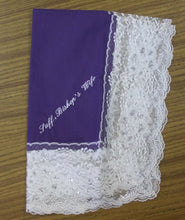 Load image into Gallery viewer, Ladies Hanky Purple with embroidery and fringe
