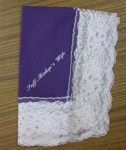 Ladies Hanky Purple with embroidery and fringe