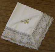 Ladies Hanky White & Off White with embroidery and fringe - Thomas Creative Apparel