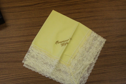 Ladies Hanky Yellow with embroidery and fringe - Thomas Creative Apparel