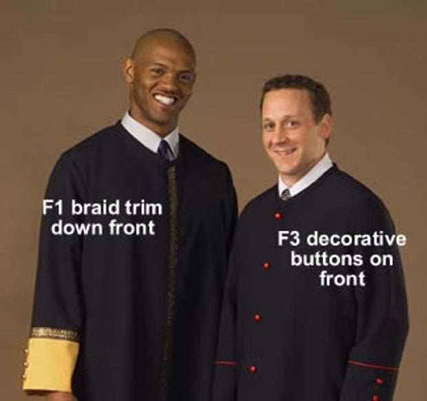 F1 F3 Front Trim Options - Thomas Creative Apparel