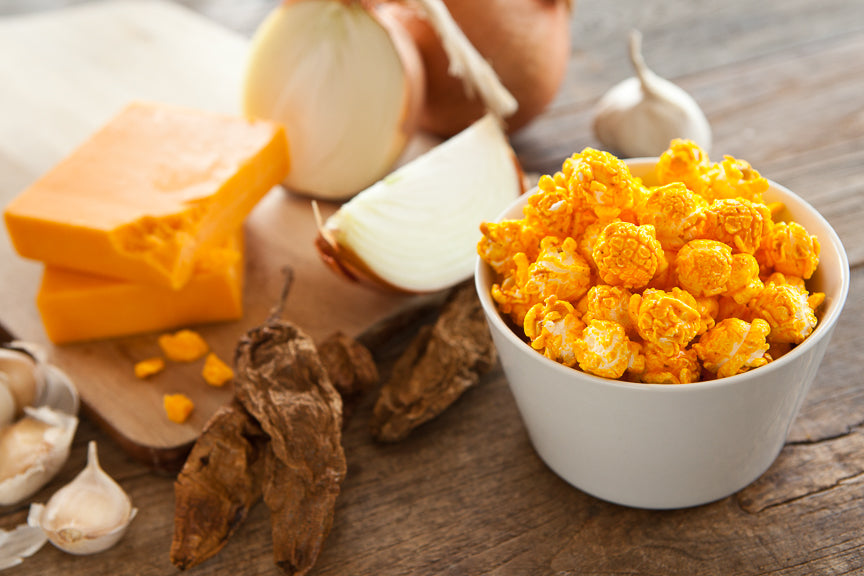 Chipotle Chili - Hand-crafted with chipotle peppers, onion and garlic, our Chipote Cheddar popcorn will spice up your life.