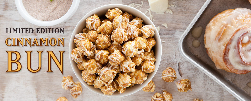 Cinnamon Bun popcorn with white chocolate Handcrafted local in Seattle by KuKuRuZa Gourmet Popcorn