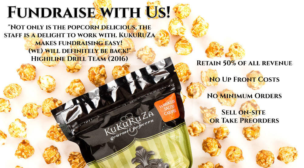 Fundraise for your school or non-profit with Seattle's KuKuRuZa Gourmet Popcorn easy fun no minimum order fundraising
