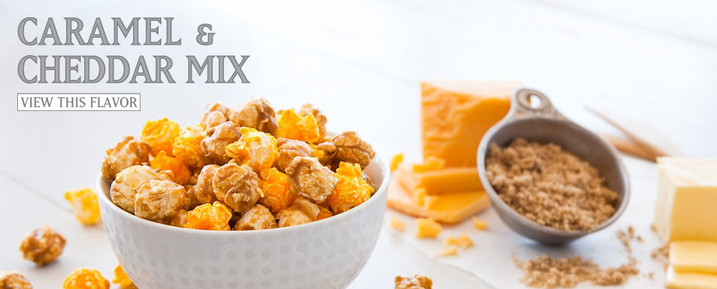 50/50 mix of our Classic Caramel and Cheddar Cheese popcorn